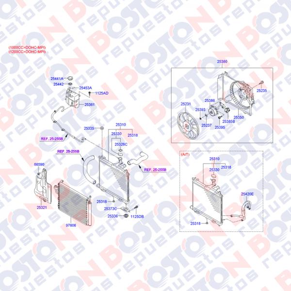 Radiador Mecanico hyundai I10 2008 al 2012 alternativo